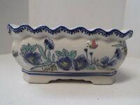 Vintage AAA Imports Ceramic Planter Decorative Floral Embossed Plant Pot Bowl