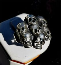 STACK of SKULLS, Sterling Silver Biker/Gothic style ring