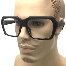 All Black Geometric Clear Lens Eye Glasses Frame Thick Retro Harry Caray Square