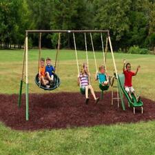 Playground Swing Set Slide Metal Outdoor Kids Children Backyard Swingset Seat