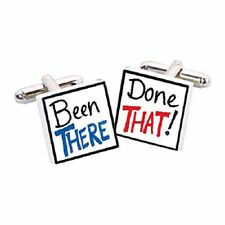 Been There Done That Cufflinks by Sonia Spencer, gift boxed. Handpainted RRP £20