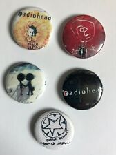 Lot of Five Vintage Radiohead Pin Pinbacks Buttons 2001 Made in Uk Orig Owner