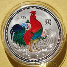 2005 Niue Australia Mint Lunar 雞/鷄 Year of the Rooster 1 Oz Silver Color Coin $1