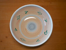 Caleca Italy CAA1 Large Round Serving Salad Bowl 10 in Peach Green Leaves