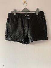 Next Faux Leather Hotpants Black Shorts Size 14