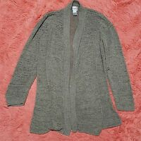 Chicos Sz 1 M Sweater Open Knit Long Sleeve Open Cardigan Womens Gray Green Tone