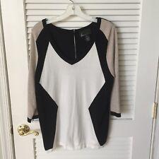 Lane Bryant Ivory Black & Heather Tan Geometric Print Zipper Back Sweater 14/16