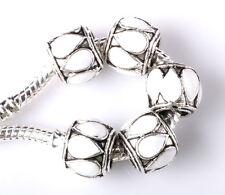 NEW 5pcs Tibetan silver lampwork spacer beads fit Charm European Bracelet #E221