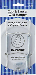 """Plymor Stainless Steel Wall Mountable Tension Cup & Saucer Hanger, 8"""" H x 2.75"""""""