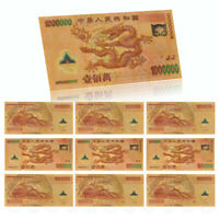 WR 10pc Chinese Dragon 1 Million Gold Banknote ¥1000000 Note Bill For Collection
