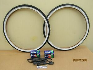NEW  26 x 1.75 WHITE-WALL BICYCLE TIRES , TUBES & LINERS FOR MTB  BIKES, ETC