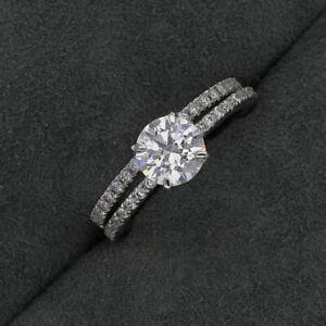 1.60 Ct Round Cut VVS1 Diamond Engagement Band Set Ring 14K White Gold Size 5 8
