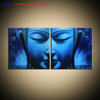 Large Modern Blue Abstract Buddha OIL Painting Canvas Wall Art Framed Home Decor
