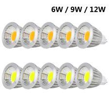 Pack 10 MR16 COB LED Light Bulbs AC DC 12V Spotlight Lamp 6W 9W 12W Halogen Bulb