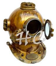 "Messing Antik Scuba Marine Taucher Helm US Navy Mark V Diving Divers Helmet 18"""