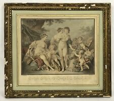 Antique French Hand Colored Engraving Semi Nude Women Cherubs Gold Gilt Frame