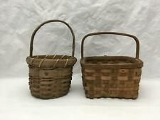 Lot of 2 Small Vintage Decorative Split Wood Baskets