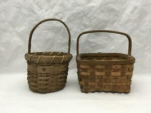 Lot of 2 Small Vintage Decorative Split Wood Baskets