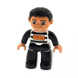 1x LEGO Duplo Figurine Mann Prisoner Black White Striped Hair 92116 47394pb168