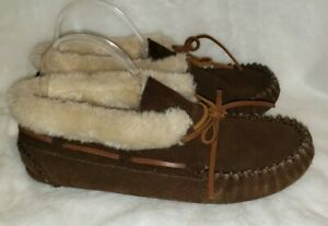 Minnetonka Women's Size 10M Brown Leather Suede Faux Fur Lined Slippers Moccasin