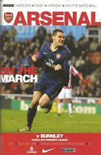 Football Programme - Arsenal v Burnley - Premiership - 6/3/2010