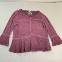 Anthropologie Akemi+Kin Purple LS boho Top blouse 3/4 Slv S