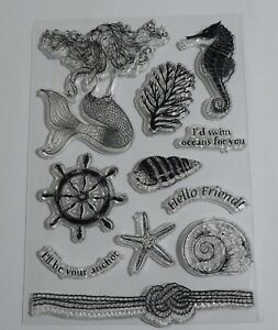 Beach, Coast, Seaside Themed Clear Stamps - Mermaid, Shells, Seahorse, Coral