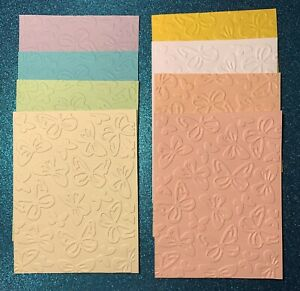 """EMBOSSED STAMPIN' UP CARDSTOCK CARD FRONTS 8 SHEETS """"BACKGROUND OF BUTTERFLIES"""""""