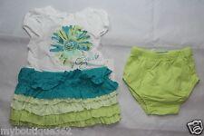 GUESS BABY GIRLS DRESS SET GREEN MULTI SZ 18 MOS (DRESS & PANTY) NEW NWT