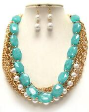 MULTI STRAND TURQUOISE LUCITE BEAD WHITE FAUX PEARL NECKLACE EARRING SET