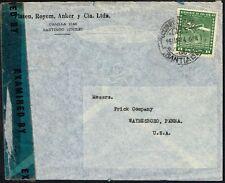2456 CHILE TO US CENSORED AIR MAIL COVER 1944 SANTIAGO - WAYNESBORO, PA