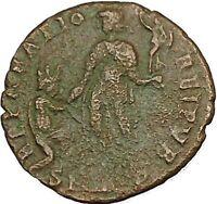 Theodosius I the Great &  kneeling woman AE2 Original Ancient Roman Coin i40402