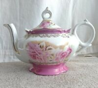Vintage Lefton Music Box Teapot With Rose Pattern And Gold Trim iridescent pink