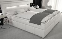 Boxspringbett 180x200 Doppelbett Designerbett Boxspring LED Bett Kunstleder Weiß
