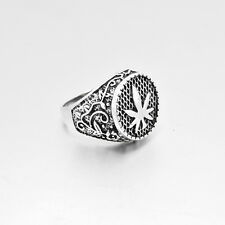Size 8# Mens Silver Cannabis Leaf Band Stainless Steel Ring Fashion Jewelry