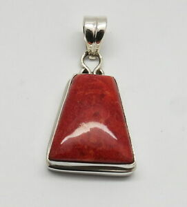 01 Pendant 925 Sterling Silver Natural Pacific Coral 55mm Long Pendant Jewelry