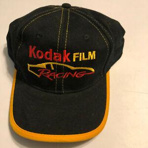NOS Kodak Film Racing Black Hat Gold Trim Strap Back #4 Logo NWT
