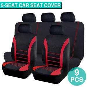9PCs Universal Car Seat Covers Set Split Full Set Front&Rear Seat Rest Protector