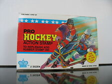 Vintage Nos Pro Hockey Action Rubber stamp in Display box 24 pieces Scrapbooking