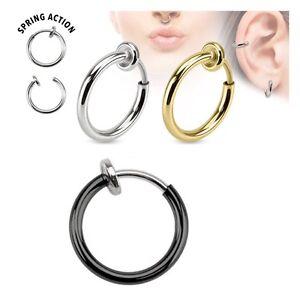 Fake Clip On Spring  Nose Hoop Ring Ear Septum Lip Eyebrow Earrings Piercing