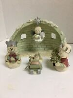 Snownman 5 Pc Nativity Set W Igloo Candle Holder Jesus And 3 Kings