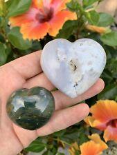 184g 2pcs Natural Ocean Jasper Quartz Heart-shaped Gem Madagascar Green
