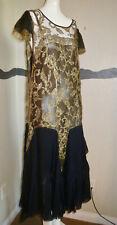 1920s Dress Gold Lame Lace & Silk Chiffon