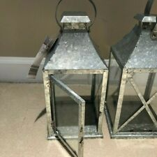 Lantern Silver Galvanized metal, new with tags set of 2, free shipping