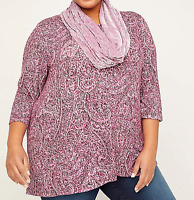 Women's 4X 30/32 Knit Tunic Top Catherine's Pink Paisley Duet Scarf $60 Bust 64