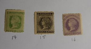 1872 PEI Prince Edwards Island Stamp Canada Set of 3 #14, 15 and 16