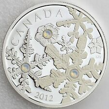 Canada 2012 $20 Holiday Snowstorm Pure Silver Proof with 3 Swarovski Crystals