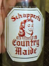 2687~EX RARE Vtg 32oz Clear Glass ACL SCHAPPERT'S COUNTRY MAIDE Girl Soda Bottle