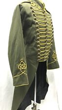 "Men's Military Army Gold Hussar Olive Green Officers Tail Coat 44/46"" M"