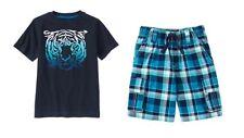 Gymboree Blue Safari Tiger Tee Shirt Top & Plaid Cargo Shorts Set Boys 7 NEW NWT